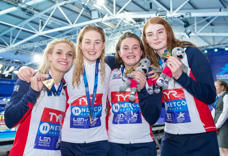 4 x 200m relay Glasgow 2018 Faulkner Hibbott Greenslade Anderson